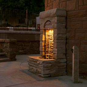 Shoshone font at night with lighting