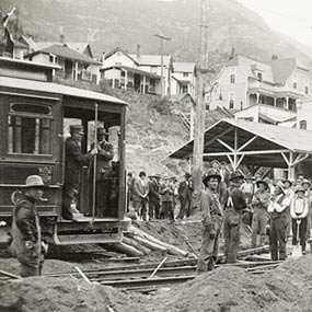 Workers completing the streetcar line into downtown Manitou Springs